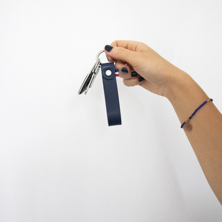 porte-clefs en cuir made in france bleu