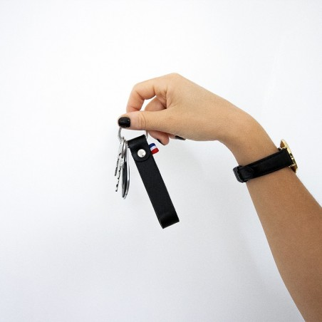 porte-clefs en cuir made in france noir